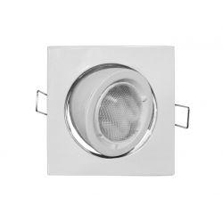 Φωτιστικό spot χωνευτό αλουμινίου τετράγωνο κινητό 45° λευκό