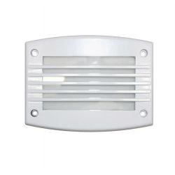 Φωτιστικό διαδρόμου ορθογώνιο αλουμινίου λευκό μα γρίλια 24 led 230v 1,4 watt στεγανό ip54 θερμό φώς