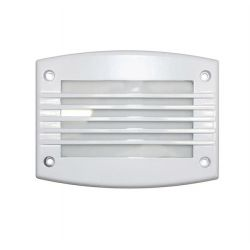 Φωτιστικό διαδρόμου ορθογώνιο αλουμινίου λευκό με γρίλια 24 led 230v 1,4 watt στεγανό ip54 ψυχρό φώς