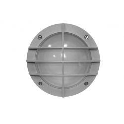 Φωτιστικό πλαφονιέρα αλουμινίου στρογγυλή με γκρί πλέγμα στεγανή ip54 για λάμπες led G9