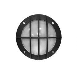 Φωτιστικό πλαφονιέρα αλουμινίου στρογγυλή με μαύρο πλέγμα στεγανή ip54 για λάμπες led G9