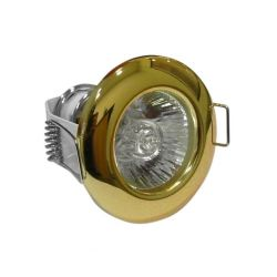Φωτιστικό σπότ χωνευτό αλουμινίου στρογγυλό σταθερό με καθρέφτη χρυσό για λάμπες G4 12V & 230V