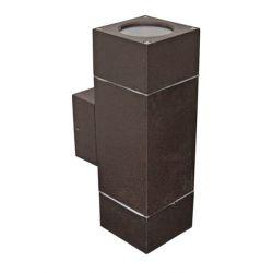 Φωτιστικό σπότ αλουμινίου τετράγωνο σαγρέ σκουριά διπλής κατεύθυνσης με ντουί gu10 στεγανό ip54