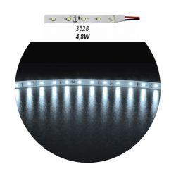 Led ταινία αυτοκόλλητη 4.8w/m 12vdc 60led3528/m μη στεγανή ip20 ψυχρό λευκό φώς