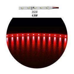 Led ταινία αυτοκόλλητη 4.8w/m 12vdc 60led3528/m μη στεγανή ip20 κόκκινο φώς