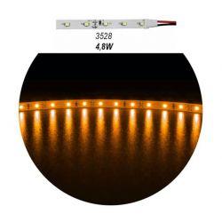 Led ταινία αυτοκόλλητη 4.8w/m 12vdc 60led3528/m μη στεγανή ip20 κίτρινο-πορτοκαλί φώς