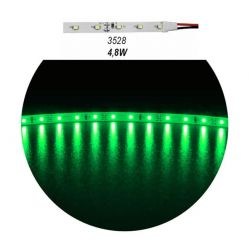 Led ταινία αυτοκόλλητη 4.8w/m 12vdc 60led3528/m μη στεγανή ip20 πράσινο φώς