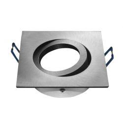 Φωτιστικό σπότ χωνευτό αλουμινίου βούρτσας τετράγωνο μάτ κινητό για λάμπες gu10 & mr16 Ø 50mm