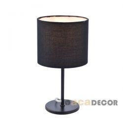 Φωτιστικό επιτραπέζιο κομοδίνου μεταλλικό μαύρο μάτ διακοσμημένο με υφασμάτινο καπέλο για λαμπτήρες με ντουί Ε14