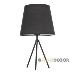 Φωτιστικό επιτραπέζιο κομοδίνου μεταλλικό μαύρο με βάση τρίποδα & υφασμάτινο καπέλο για λαμπτήρες με ντουί Ε27