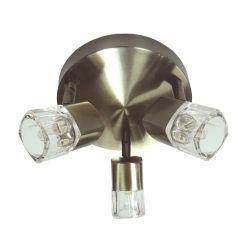 Φωτιστικό σπότ αλουμινίου & ατσάλι μπρονζε τρίφωτο με γυαλί για λαμπτήρες με ντουί g9 230v 0901063GAB
