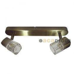 Φωτιστικό σπότ αλουμινίου ατσάλι & μπρονζέ δίφωτο με γυαλί για λαμπτήρες με ντουί g9 230v 0901062GAB