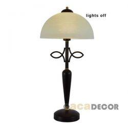 Φωτιστικό κομοδίνου καφέ-αντικέ με μελί γυαλί & ντουί Ε27 σειρά elegant AD89061T
