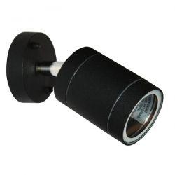 Φωτιστικό σπότ κινητό αλουμινίου στεγανό ip54 μονής κατεύθυνσης μαύρο με στρογγυλή βάση & ντουί gu10 ΚΩΔ : HI7033AB