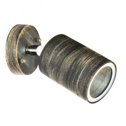 Φωτιστικό σπότ κινητό αλουμινίου στεγανό ip54 μονής κατεύθυνσης ρουστίκ με στρογγυλή βάση & ντουί gu10 ΚΩΔ : HI7033AR