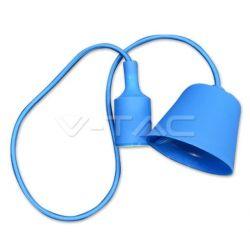 Φωτιστικό κρεμαστό v-tac μονόφωτο σιλικόνης μπλέ με υφασμάτινο καλώδιο & πλαστική βάση με ντουί Ε27 Ø 45mm ΚΩΔ : 3476