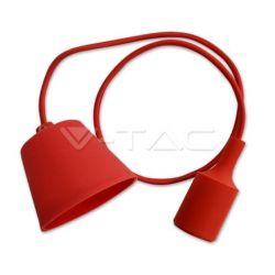 Φωτιστικό κρεμαστό v-tac μονόφωτο σιλικόνης κόκκινο με υφασμάτινο καλώδιο & πλαστική βάση με ντουί Ε27 Ø 45mm ΚΩΔ : 3480