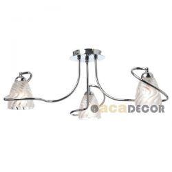 Φωτιστικό οροφής τρίφωτο χρωμίου απο γυαλί αμμοβολής με κυματιστές γραμμές & ντουί Ε14  AD11803