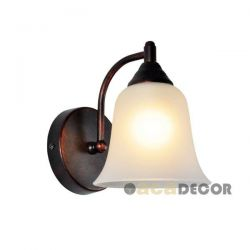 Φωτιστικό απλίκα χάλκινο-μαύρο μάτ ρετρό με γυαλί αμμοβολής & ντουί Ε27  AD80081W