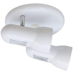 Φωτιστικό σπότ επίτοιχο δίφωτο λευκό με στρογγυλή β;Aση αλουμινίου για λαμπτήρες R63 με ντουί Ε27 ΚΩΔ: SMU632PW