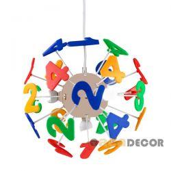 Παιδικό φωτιστικό κρεμαστό τρίφωτο με αριθμούς απο πλαστικό με ντουί Ε14 ΚΩΔ :  MD70853F