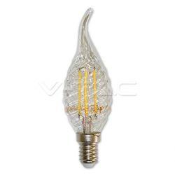 Διακοσμητική λάμπα led v-tac διάφανη κεράκι με μύτη twist Ε14 4watt 230v θερμό λευκό 2700κ 400lumen ΚΩΔ : 4308