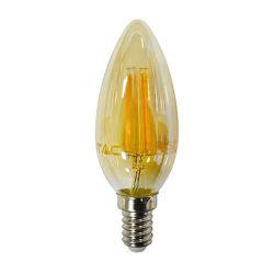 Διακοσμητική λάμπα led v-tac  κεράκι με μελί γυαλί  Ε14 4watt 230v θερμό λευκό 2200κ 350lumen ΚΩΔ : 4462