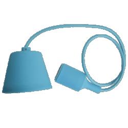 Φωτιστικό κρεμαστό v-tac μονόφωτο σιλικόνης γαλάζιο (Light blue) με υφασμάτινο καλώδιο & πλαστική βάση με ντουί Ε27 Ø 45mm ΚΩΔ : 3482
