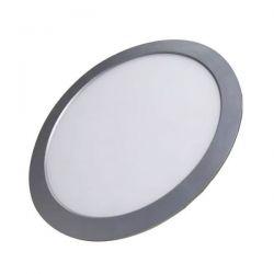 Led panel slim φωτιστικό χωνευτό στρογγυλό ασημί 8watt 230v ψυχρό λευκό φώς 6000Κ 520lumen ΚΩΔ: STHERON860R