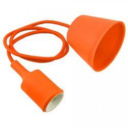 Φωτιστικό κρεμαστό v-tac μονόφωτο σιλικόνης πορτοκαλί με υφασμάτινο καλώδιο & πλαστική βάση με ντουί Ε27 Ø 45mm ΚΩΔ : 3484
