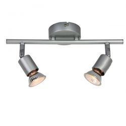 Φωτιστικό σπότ αλουμινίου ασημί μάτ δίφωτο για λαμπτήρες με ντουί gu10 230v Κωδικός : MC634SL2