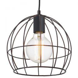 Διακοσμητικό φωτιστικό κρεμαστό κυκλικό Ø 240 mm κλουβί με πλέγμα μαύρο & ντουί Ε27 ΚΩΔ : KS202925BK
