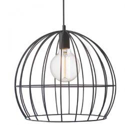 Διακοσμητικό φωτιστικό κρεμαστό κυκλικό Ø 400 mm κλουβί με πλέγμα μαύρο & ντουί Ε27 ΚΩΔ : KS202940BK