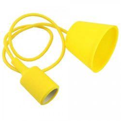 Φωτιστικό κρεμαστό v-tac μονόφωτο σιλικόνης κίτρινο με υφασμάτινο καλώδιο & πλαστική βάση με ντουί Ε27 Ø 45mm ΚΩΔ : 3485