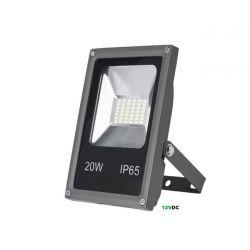Προβολέας με led smd 20watt 12vdc ανθρακί ψυχρό λευκό 6400Κ 2200lumen αλουμινίου στεγανός ip65 Κωδικός : 3-320120