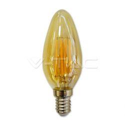Λάμπα led v-tac amber cover κεράκι με μελί γυαλί Ø35mm Ε14 4watt 230v/ac θερμό λευκό φώς 2200k 350lumen Κωδικός : 7113
