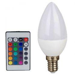 Λάμπα smart led κεράκι 4watt Ε14 230v/ac RGB εναλλαγής χρωμάτων με τηλεχειριστήριο 300lumen Κωδικός : C37414RGBW