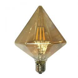 Λάμπα led filament μελί διαμάντι Ø125mm Ε27 6watt 230V/ac ντιμαριζόμενη 2700k θερμό λευκό φως 590lumen Κωδικός : TRON6WWDIMAM