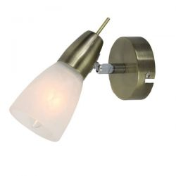 Φωτιστικό σπότ μονόφωτο μπρονζέ μεταλλικό με αλάβαστρο γυαλί & ντουί Ε14 Κωδικός :  MC542GAB