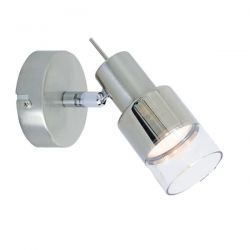 Φωτιστικό σπότ μονόφωτο νίκελ-μάτ μεταλλικό με διάφανο γυαλί & ντουί gu10 Κωδικός :  MC6561