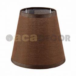 Υφασμάτινο αμπαζούρ καφέ λινό & μεταλλική βάση για λαμπτήρες με ντουί Ε14 Κωδικός : DL007SHE14