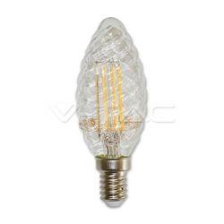 Διακοσμητική λάμπα led v-tac διάφανο κεράκι twist Ε14 4watt 230v θερμό λευκό 2700κ 400lumen ντιμαριζόμενη ΚΩΔ : 4367