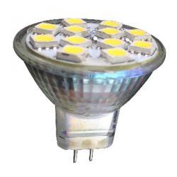 Λάμπα led smd Ø35mm Mini mr11 2.5watt 12v ac/dc ψυχρό λευκό 6000k δέσμης 120° 220lumen Κωδικός : MR11283512CW
