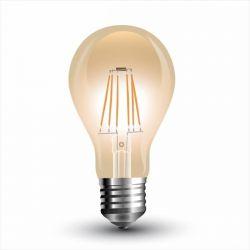 Λάμπα led filament v-tac αχλάδι amber Ø60mm Ε27 4watt 230v/ac θερμό λευκό φώς 2200k 350lumen Κωδικός : 4498
