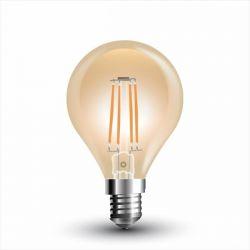 Λάμπα led filament v-tac σφαιρική amber Ø45mm Ε14 4watt 230v/ac θερμό λευκό φώς 2200k 350lumen Κωδικός : 4499