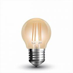 Λάμπα led filament v-tac σφαιρική amber Ø45mm Ε27 4watt 230v/ac θερμό λευκό φώς 2200k 350lumen Κωδικός : 7100