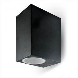 Φωτιστικό κύβος v-tac αλουμινίου στεγανό ip44 διπλής κατεύθυνσης μαύρο επίτοιχο με ντουί gu10 sku: 7511