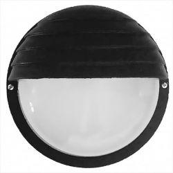 Φωτιστικό απλίκα στρογγυλή πλαστική μαύρη με σκίαστρο & μάτ γυαλί (ντουί ε27) sku : 13-0079