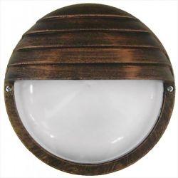 Φωτιστικό απλίκα στρογγυλή πλαστική χαλκός με σκίαστρο & μάτ γυαλί (ντουί ε27) sku : 13-0048