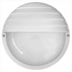 Φωτιστικό απλίκα στρογγυλή πλαστική λευκή με σκίαστρο & μάτ γυαλί (ντουί ε27) sku : 13-0039